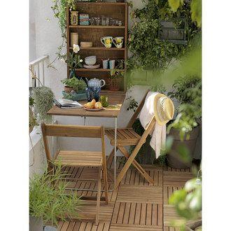 Salon Pour Balcon Mural 2 Places Avec Rangement En Acacia Table
