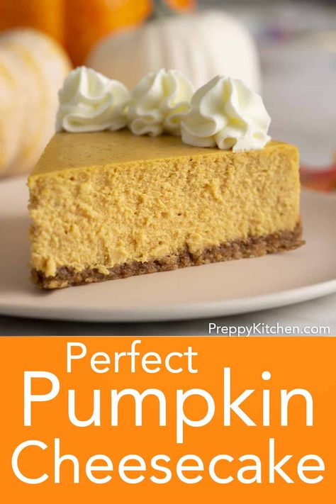 A light and creamy pumpkin cheesecake with all your favorite fall spices and a crunchy graham cracker pecan crust from Preppy Kitchen. Getting the perfect no-crack bake is easier than you think! The Cheesecake Factory, Pumpkin Swirl Cheesecake, Oreo Cheesecake, Chocolate Cheesecake, Birthday Cheesecake, Raspberry Cheesecake, Homemade Cheesecake, Classic Cheesecake, Cake Chocolate