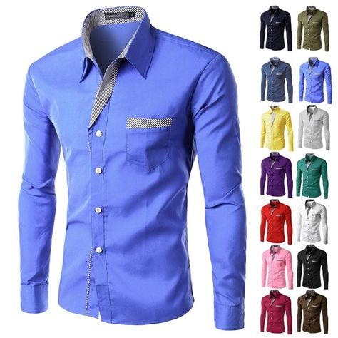 6a5f891fc50 Item Type  Shirts Gender  Men Collar  Turn-down Collar Style  Slim. More  information. Business Casual Long Sleeves ...
