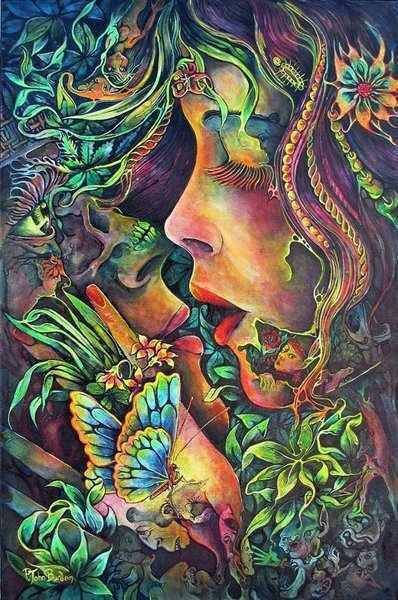 Earthly love by Josephine Wall Psychedelic Art, Psychedelic Experience, Fantasy Kunst, Fantasy Art, Art Amour, Art Visionnaire, Josephine Wall, Psy Art, Hippie Art