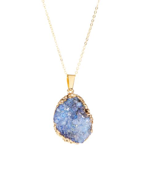 Luxe Group Gold & Sapphire Gilded-Edge Drusy Pendant Necklace