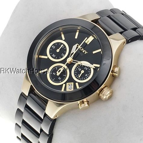 DKNY Ladies Black and Gold Ceramic Watch - 2 Year for sale online