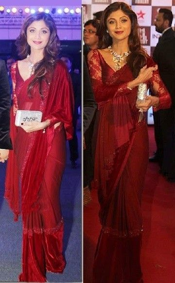 Bollywood Actress Shilpa Shetty georgette and Velvet saree in Maroon colour