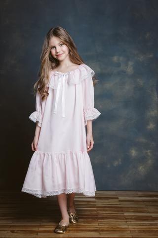 Elizabeth Pink Blush Girls Nightdress Night Dress Girls Nightgown Girls White Dress