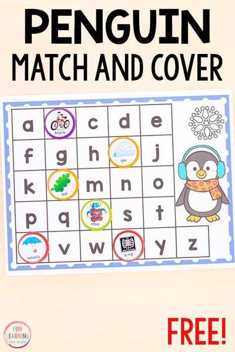 Penguin Match and Cover the Alphabet - - Teach letter identification and letter sounds with these fun winter literacy centers. Source by kdgconnection Preschool Christmas Activities, Winter Activities For Kids, Alphabet Activities, Preschool Alphabet, Preschool Winter, Letter Identification Activities, Alphabet Crafts, Free Preschool, Preschool Printables