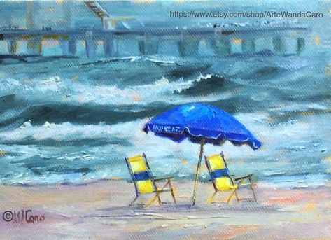 Galveston Island Seascape Texas Art Original Oil Painting On