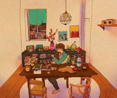 Xin lỗi vì tôi không thể ở bên cạnh bạn tất cả thời gian grafolio.com/works/302973 #puuung #loveis #love #illust