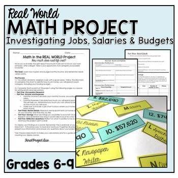 Real Life Math Project Investigating Jobs Salaries And Budgets Real Life Math Math Projects Consumer Math