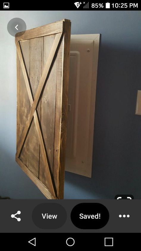 Electric Box, Electric Panel Cover, Hide Cable Box, Small Woodworking Projects, Popular Woodworking, Woodworking Furniture, Woodworking Plans, Breaker Box, Basement Remodeling