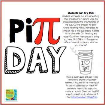 Great Pi Day Activity For Young Learners Https Www Teacherspayteachers Com Sellers Im Following Add The Think Tank Activities Learners Pi Day