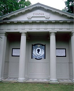 Princess Diana 1961-1997 At Althorp, the Spencer Family Estate. Her final resting place is said to be on an island in the center of a lake called Round Oval. No visitors are allowed on the island itself.