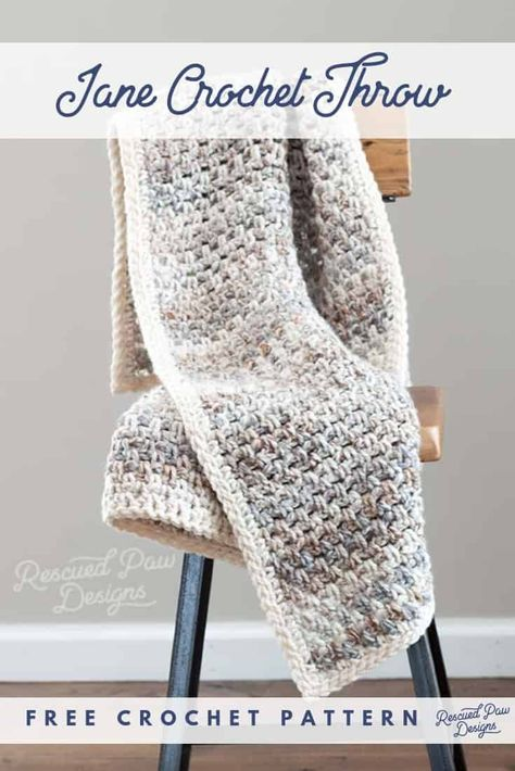 Free Crochet Throw Blanket Pattern the Jane by Rescued Paw Designs. Click to Make today or Pin to Save for later! rescuedpawdesigns.com