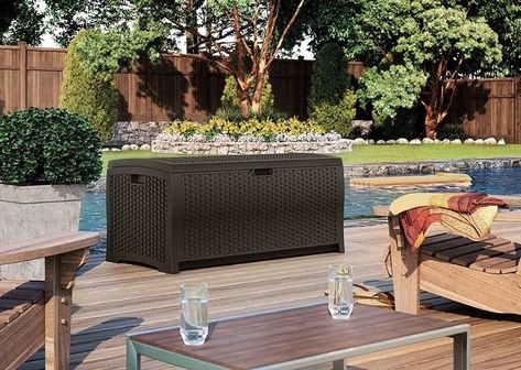 Details About 22 Gallon Java Resin Wicker Small Storage Seat Deck