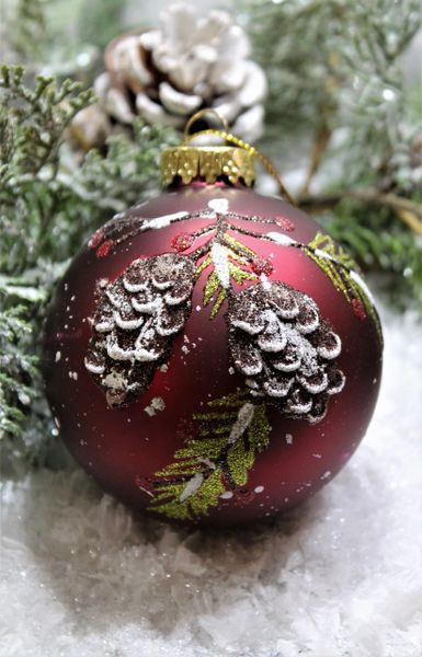 Red Glass Ornament With Pinecones In 2020 Glass Ornaments Red Glass Glass Christmas Ornaments