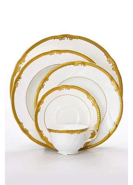 Ivy 5 Piece Bone China Dinnerware Set Service For 1 Geschirr