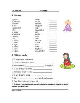 La Familia Spanish Worksheet On The Family With Images
