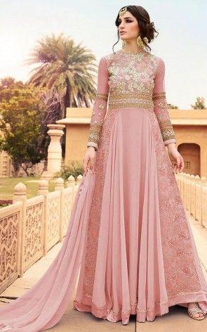 Georgette And Net Abaya Style Suit In Baby Pink Vestidos Quinceanos Vestidos Largos Vestidos Elegantes