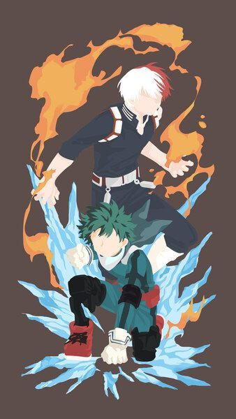 Shoto Todoroki Izuku Midoriya Minimalist My Hero Academia4k Hd Mobile Smartphon In 2020 Anime Wallpaper Hero Hero Wallpaper