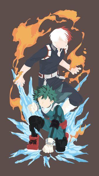 Shoto Todoroki Izuku Midoriya Minimalist My Hero Academia4k Hd Mobile Smartphon Anime Wallpaper Hero Wallpaper Anime