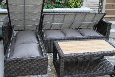 brown wicker teak 3pc sectional sofa
