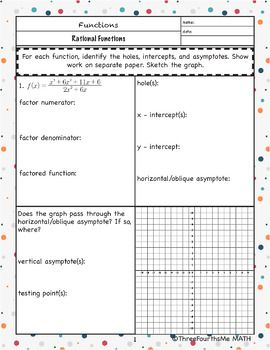 Graphing Rational Functions Bundle Rational Function