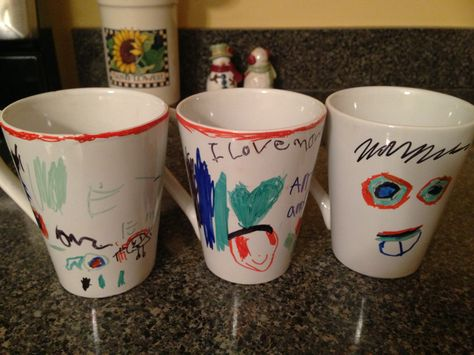 Dollar Store mugs + Sharpie Markers = Memorable Mugs