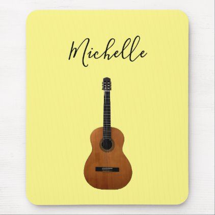 Acoustic Guitar Music Monogram Yellow Mouse Pad Zazzle Com Acoustic Guitar Music Acoustic Guitar Custom Mouse Pads