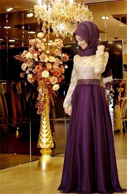 2016 Muslim Evening Dresses Prom Dress Islamic Dubai Abaya Kaftan Long Sleeve Prom Dresses Arabic Evening Gaun Hijab Gaun Pengantin Muslim Model Pakaian Muslim