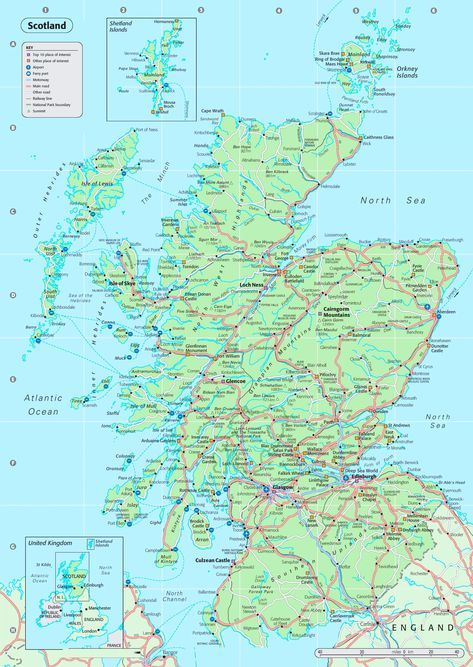Detailed Road Map Of England.Detailed Map Of Scotland Scotland Glass England Map Map