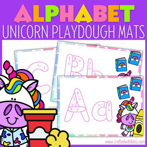 Unicorn Alphabet Playdough Mats, Alphabet Activities - A to Z, Playdough mats, Playdough mats printable, ABC playdough mats printable