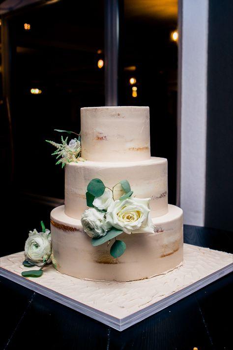 3 tier semi-naked wedding cake with green flowers on it | Photo: Enchanted Celebrations | Cake: Palermo's Bakery | NJ wedding venue: Rock Island Lake Club