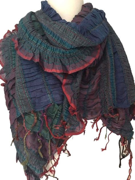 Blue green and red Fair Trade ruffle ruched scarf Beautifully textured and  soft fabric stripes in differing shades of purple and brown long wide and 1e05666d783