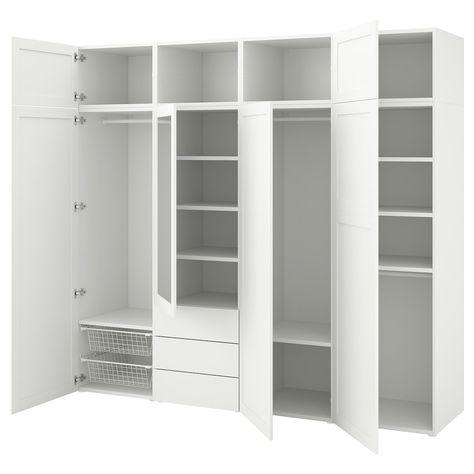 Armadio Ikea Bianco Due Ante.Platsa Guardaroba Con 7 Ante E 3 Cassetti Bianco Sannidal