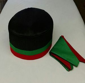 African Red Black Green Kufi Set Black And Red African Hats Vest And Tie