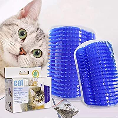 Amazon Com Lainrrew 2 Pack Cat Self Groomer With Catnip Wall Corner Massage Combs Soft Self Grooming Brushes Scratcher Cat Brushing Cat Massage Pet Cleaning