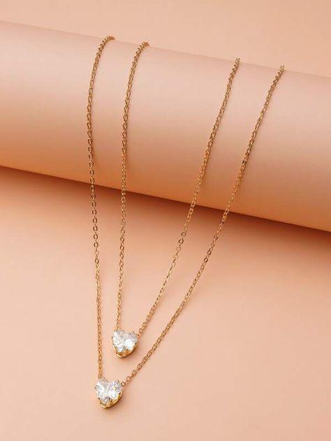 2pcs Zircon Heart Pendant Necklace   SHEIN USA