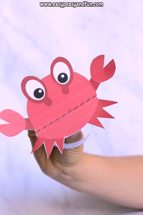 This printable crab puppet is the best craft for kids to make during the summer break. Print the template (pre-colored or black and white the kids can color in themselves) and let the fun begin.