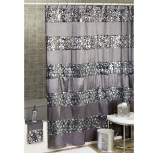 Sinatra Silver Glitter Shower Curtain Silver Shower Curtain Gray Shower Curtains Black Shower Curtains