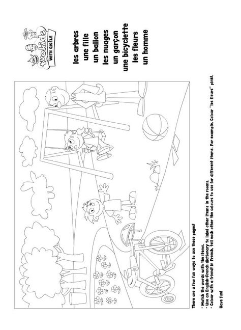 Preschool French Printable - Match the playground words with their ...