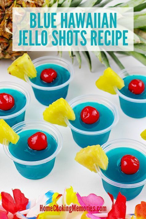 A boozy, summery jello shot recipes for adults! This Blue Hawaiian Jello Shots Recipe gives you colorful blue jello shots, made with Blue Curaçao liquor, Malibu Rum and lots of tropical flavor! Perfect for your summer parties, 4th of July, or any occasion where this boozy treat for adults will be appreciated.