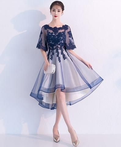 Blue Lace Tulle Short Prom Dress Blue Lace Homecoming Dress