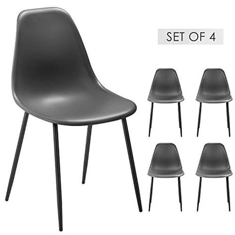 Dining Chairs Set Of 4 Side Chair Modern Stylish Pp Plastic Seat