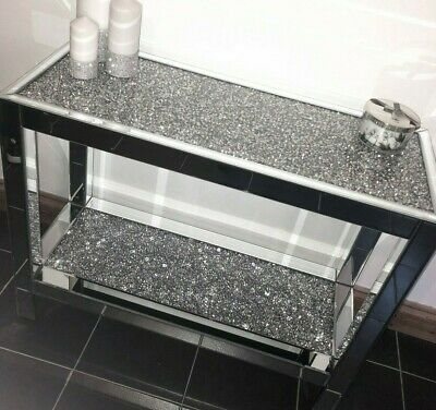 2 Tier Mirrored Crushed Diamond Console Lamp Table Crush Sparkle Crystal Modern 349 99 Mobilier
