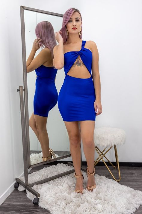 Blue  Open Cut Front Body con Mini Dress