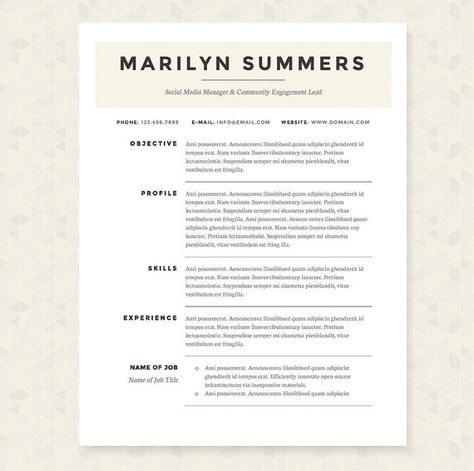 Classic Resume, Cover Letter \ References Template Package Resume - columnist resume 2