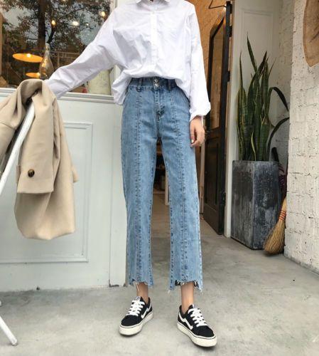 Korean High Waisted Womens Denim Straight Wide Leg Jeans Vintage Boyfriend Pants Denim Women Ripped Denim Korean Fashion