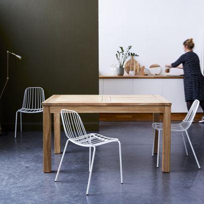 Table En Teck A Rallonge 140x90 Cloe En 2020 Table Teck Table Bois Meuble Bois Brut