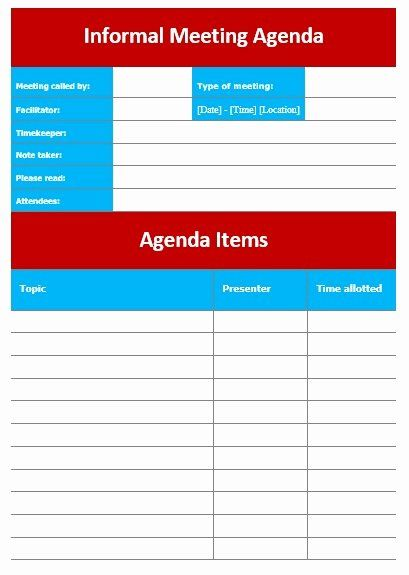 Informal Meeting Minutes Template Lovely 10 Free Sample Informal Agenda Templates For Your Casual Meeting Agenda Template Agenda Template Meeting Agenda