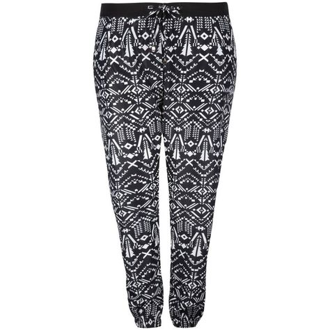c74a712e77668 Yoursclothing Womens Plus Size Aztec Print Cuffed Harem Trousers ( 40) ❤  liked on Polyvore featuring pants