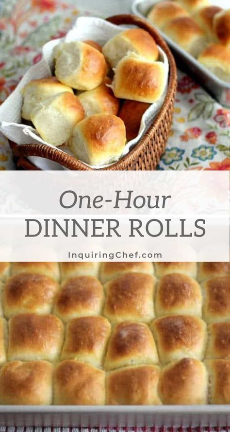 As the title promises, these classic light and fluffy dinner rolls are a one bowl, one hour recipe that is simple enough for any home cook. A brush of melted butter puts them over the top. #bread #baking #rolls